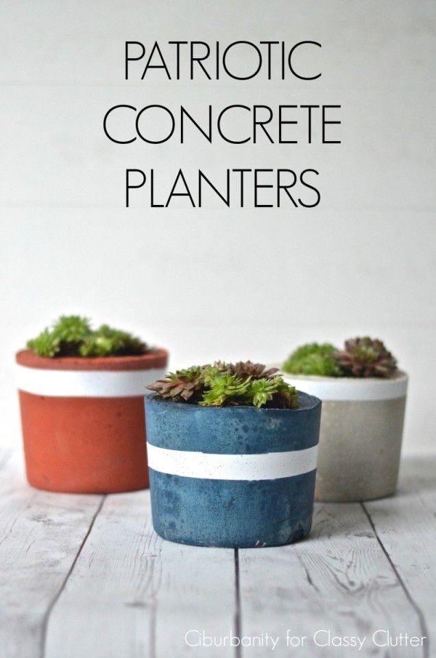 Diy projects patriotic concrete planters classy paint for Painting concrete pots