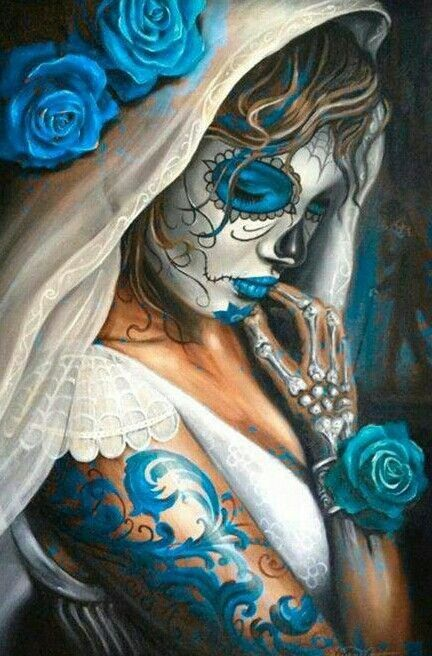 Blue Dia de Los Muertos Fete des morts mexique, Chicanos