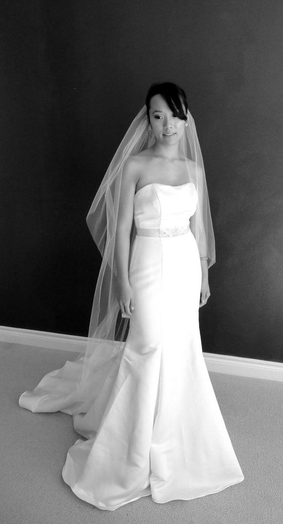 Chapel Length Veil With Blusher Ivory By LoveJessicaCatherine, $40.00