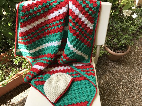 Wool baby blanket baby gift set baby shower gift red green