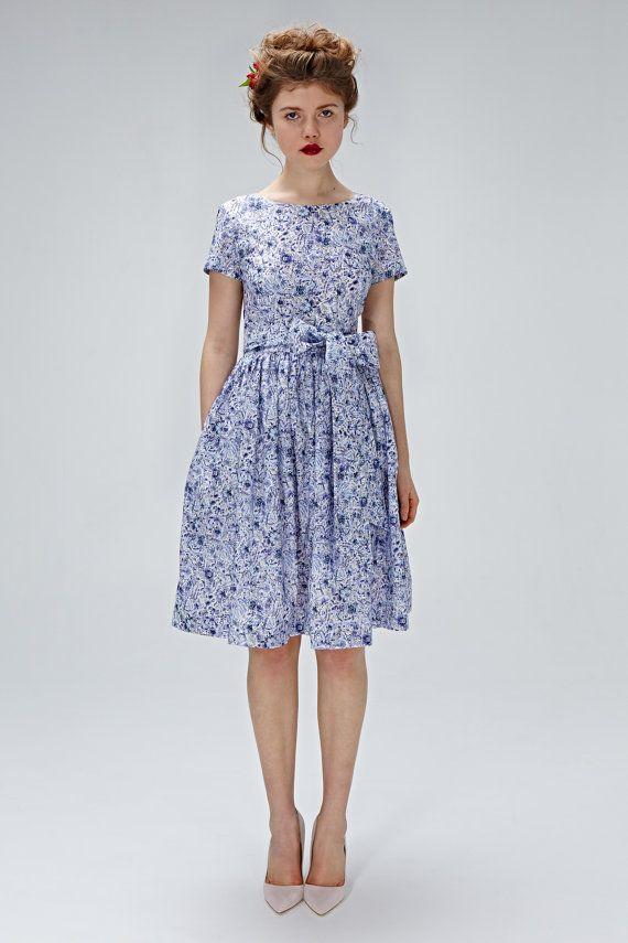 Abito da sposa alternativi 50s blu vestito vestito di mrspomeranz