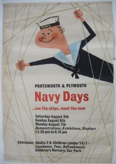 Vintage British poster: Navy Days for Portsmouth & Plymouth.