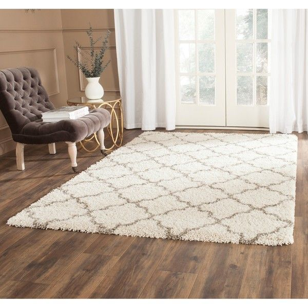 Safavieh Quatrefoil Hudson Ivory/ Grey Shag Rug ($77) ❤ liked on Polyvore featuring home, rugs, ivory, gray rug, geometric rug, shag rug, gray shag area rug and polypropylene rugs