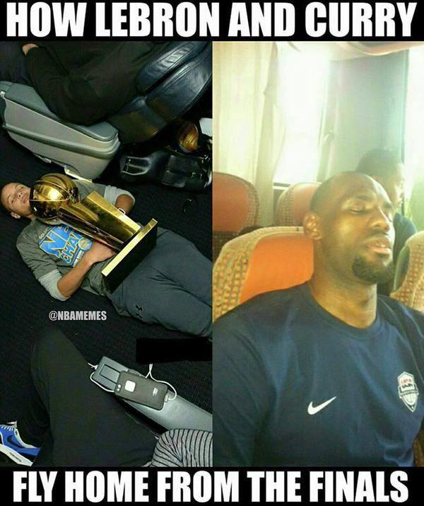 How LeBron James & Steph Curry ended the season. - http://nbafunnymeme.com/nba-memes/how-lebron-james-steph-curry-ended-the-season