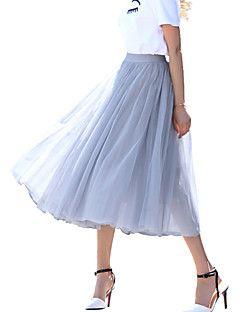 Women's+Solid+White+/+Black+/+Gray+Skirts,Street+chic+Maxi+–+MXN+$+336.41