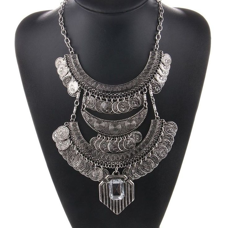 $15 Bohemian Statement Coined White Gem Necklace