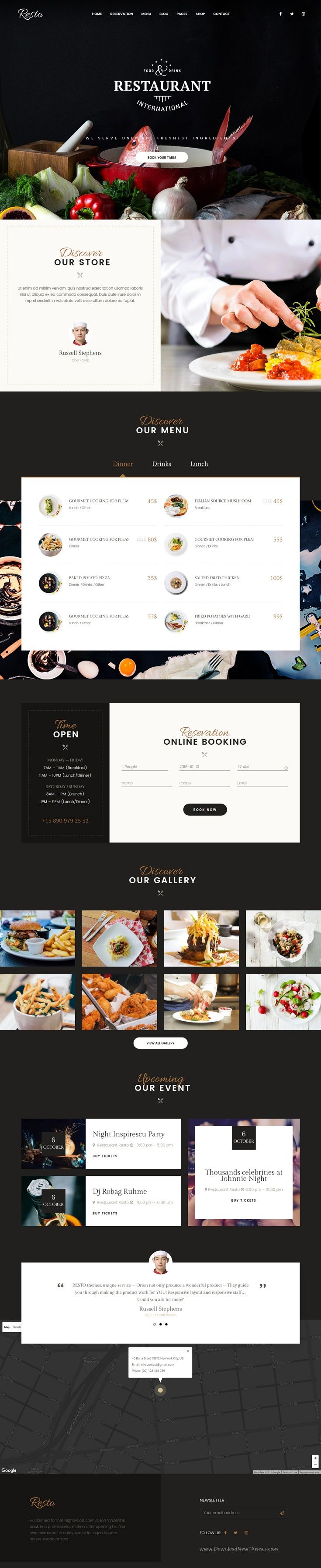 Resto is a beautiful and attractive responsive #WordPress theme for #restaurant and #cafe #website with 6 unique homepage layouts download now➩