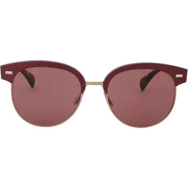 Oliver Peoples Shaelie Sunglasses (810 BGN) ❤ liked on Polyvore featuring accessories, eyewear, sunglasses, glasses, glass, glass glasses, oliver peoples, glass sunglasses, burgundy glasses and oliver peoples eyewear