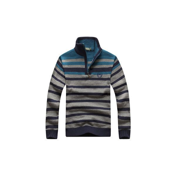 Mens Sweater Warm Thick Zipper Stand Collar Casual Stripes Pullover ($30) ❤ liked on Polyvore featuring men's fashion, men's clothing, men's sweaters, dark blue, men sweaters & cardigans, mens shawl collar sweater, mens zipper sweater, mens zip cardigan sweater, mens cardigan sweaters and mens sweaters