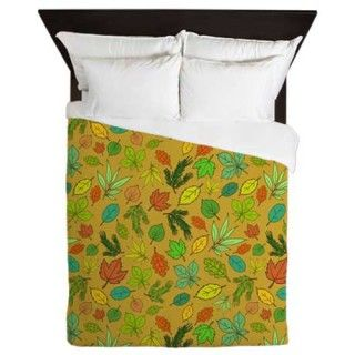 Forest Foliage Duvet cover mustard web