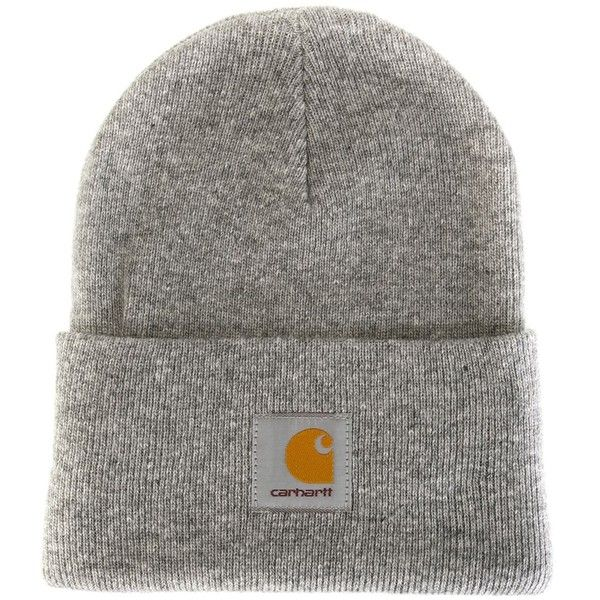Carhartt Logo Patch Beanie ($22) ❤ liked on Polyvore featuring accessories, hats, grey, carhartt hat, beanie cap, carhartt beanie, gray beanie and gray hat