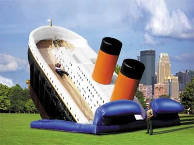 Who knew that there was room for dark humor when it came to fun slides?: Summer Kids, Funny Things, Twin Towers, Titanic Sliding, National Tragedy, Funny Stuff, Inflatable Sliding, Kids Toys, 100 Years