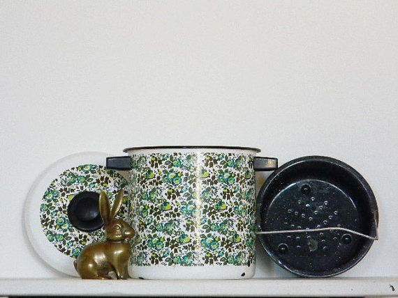 Mod Enamel Pot Lid Basket Steamer Cookware Retro by 1RustyRabbit