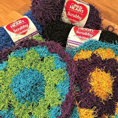 flower kitchen scrubby crochet pattern