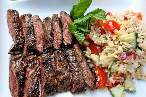 skirt steak - my preferred way of cooking it is to marinate in OJ, garlic, red wine and teriyaki