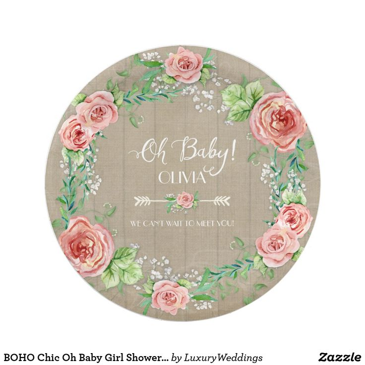 BOHO Chic Oh Baby Girl Shower Wood Watercolor Paper Plate Sweet Baby girl on the way and looking for a Boho Chic Baby shower theme? Hand painted in watercolor by Audrey Jeanne Roberts, these boho style flowers are loose, painterly and bright colors. Mixed with pretty Baby's breath flowers and leaf foliage for an elegant rustic wreath design with typography style script handwriting and arrow divider. The background of these plates is a worn, distressed, aged barn wood fence for the perfect blend