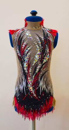 Rhythmic gymnastic leotard Black&Red 130-136 cm