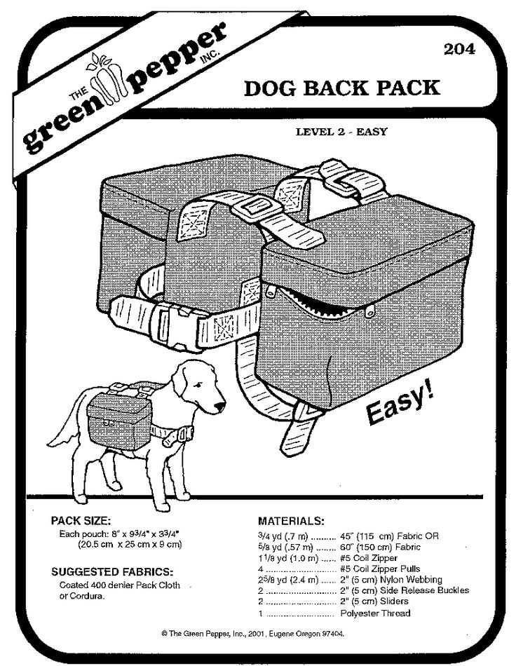 Dog Backpack Pattern