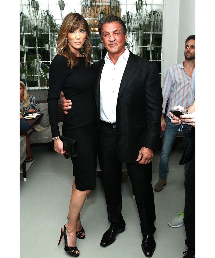 Celebrities flocked to DuJour's annual Art Basel Miami kickoff party at the Delano presented by Blackberry PRIV and 50 Bleu. Pictured here: Jennifer Flavin, Sylvester Stallone.