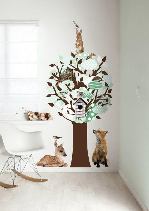 Baum Wandsticker mit Waldtieren, braun / grün, 150 x 95 cm, von KEK Amsterdam