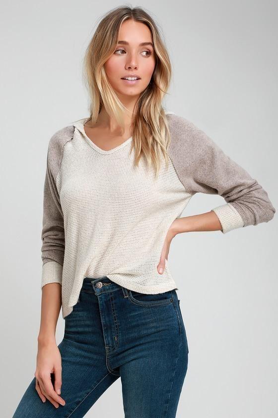 2edea34ebb593 Reah Beige Color Block Hooded Sweater Top - Lulus
