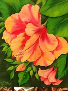 Donna Dewberry One Stroke flower painting. Beautiful orange flower.