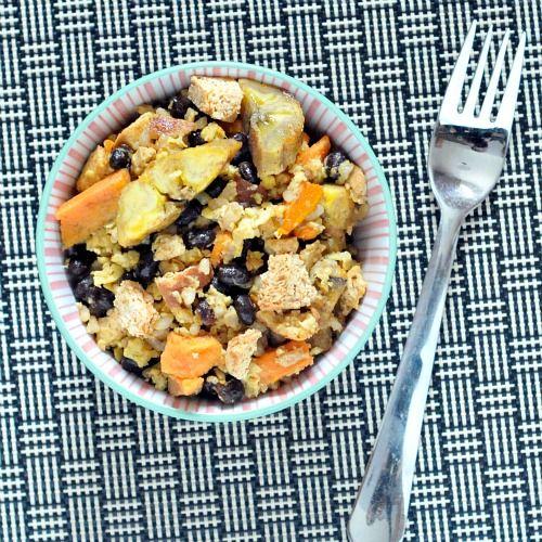 cuban vegan scramble with plaintains and black beans