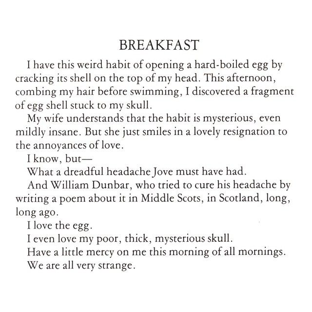 "James Wright, ""Breakfast,"" from a portfolio of poems published in The Paris Review no. 62 (Summer 1975). #poetry #jameswright #breakfast #parisreview"