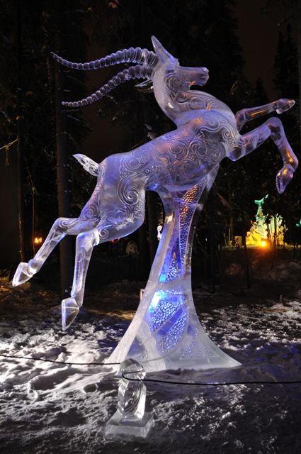 """Chasing the Wind"" Ice Sculpture, 2010 World Ice Art Championships February 27, 2010 in Fairbanks, Alaska #IceArt"