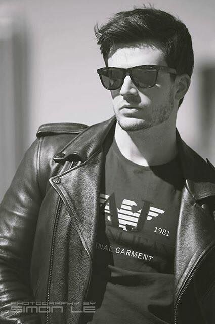 Spring cool look. Leather biker jacket, t-shirt and sunglasses. Armani Jeans. Basics.