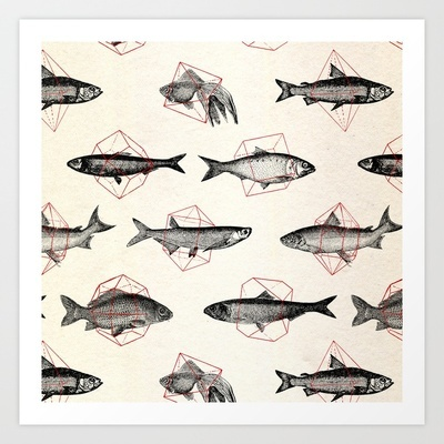 Fishes In Geometrics (Red) Art Print by Speakerine - $19.76