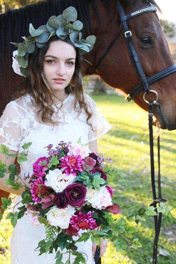 Boho Bouquet, Plum, dark pink and blush bouquet, Bridal Bouquet, Wedding Bouquet, Silk Bouquet, Rose and dahlia bouquet.  Unstructured vines
