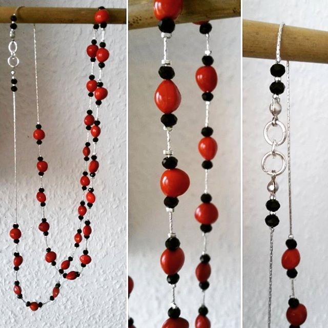 Natural seeds and sterling  silver with black crystal. #chain #jewelry #handcrafted #handmade #seeds #silver #red #beads