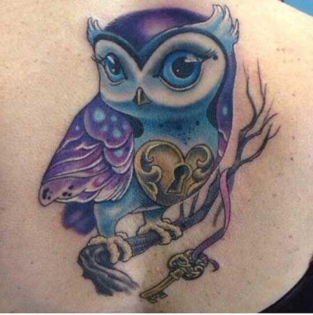 Significado de Tatuagem de Coruja com Caveira, Relógio e Chave