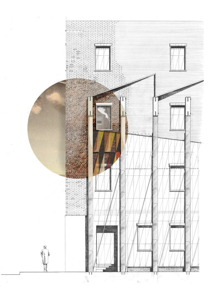 Chris Dove - Partially rendered elevation. ritaglio didetaglio con materiali su sfondo bianco enero anche in forma quadrata o esagonale