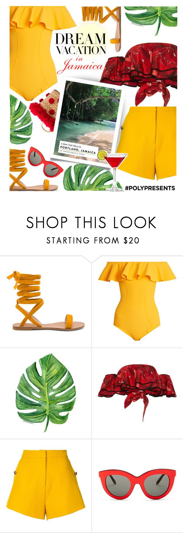 """#PolyPresents: Dream Vacation"" by liligwada ❤ liked on Polyvore featuring Raye, Lisa Marie Fernandez, Johanna Ortiz, macgraw, Victoria Beckham and Nannacay"