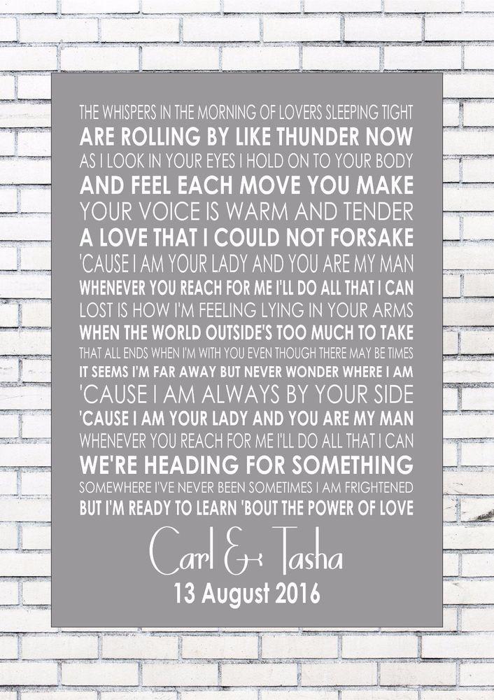 Power Of Love Jennifer Rush Lyrics Wedding Anniversary Personalised First Dance Ebay Rush Lyrics Personalized Anniversary First Dance