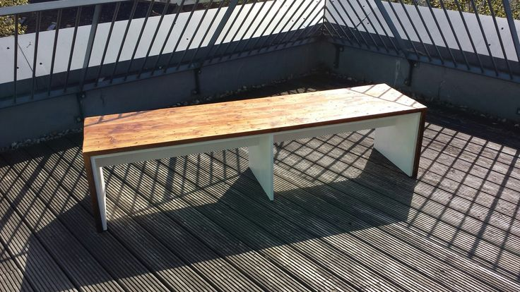 An outdoor bench I built using reclaimed old floorboards and weatherproof MDF. Copyright Kenneth Theilgaard Christiansen