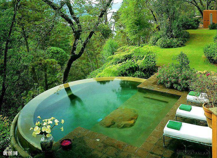 Jardin avec piscine qui se fond dans la masse, inspirations jardins aquatiques, jardin zen