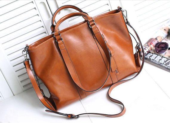 Retro Brown Large Leather Tote Bag-Shopper-Ipad-MacBookBag-laptop- Shoulder Bag Leather Satchel /Briefcase Bag   handbag/purse/handbags Bags...