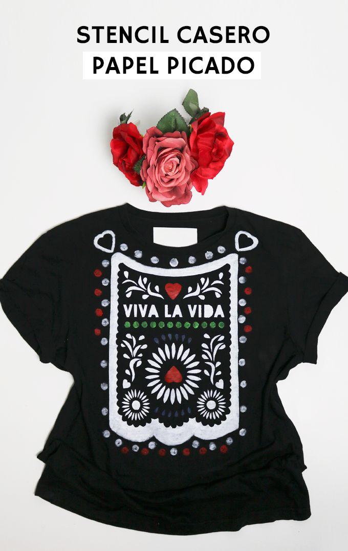 Stencil descargable gratis con diseño de papel picado mexicano. Tutorial para aplicarlo en camiseta DIY