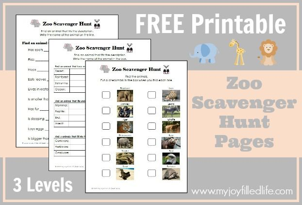 FREE Printable Zoo Scavenger Hunt Pages - 3 Levels