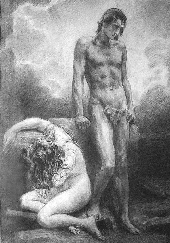 Adam and Eve Fall, ink on paper by Emil Holárek, Czechoslovakian, 1867-1919.    Holárek was a painter and graphic artist and best known for his Biblical scenes. He was a student of fellow countryman and artist, Maximilian Pirner.