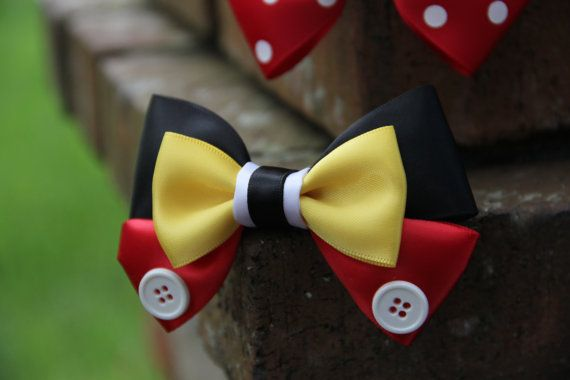 You cant beat a classic! The Mickey Hair Bow will be the perfect addition to any themed outfit. The bow measures approximately 4 inches wide and