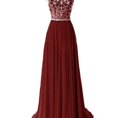 Burgundy prom dresses elegant wine red evening gowns long chiffon silver beaded chiffon gown with cap sleeves