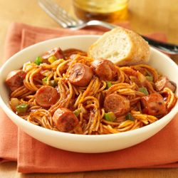 Fideo with Vienna Sausage... Vienna sausages mix with fideo macaroni, tomato, onion, garlic and green pepper for a quick and delicious Mexican-style pasta