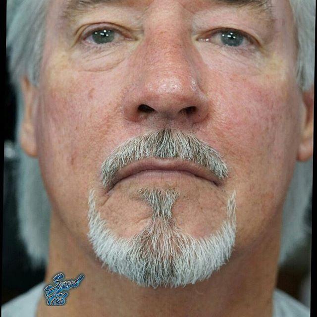 Lloyds son is retiring from the navy, so he asked if i could shape his goatee like an anchor. Similar to Robert Downey Jr.s.  #josephsbarbershop #swordfish #barber #barbershop #utahbarber #slcbarber #saltlakecity #utah #goatee #beard #razor #straightrazor #utahbarbershowcase