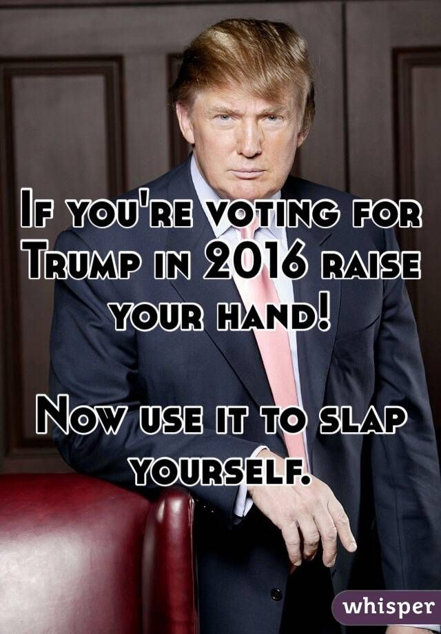 """If you're voting for Trump in 2016 raise your hand!  Now use it to slap yourself."""
