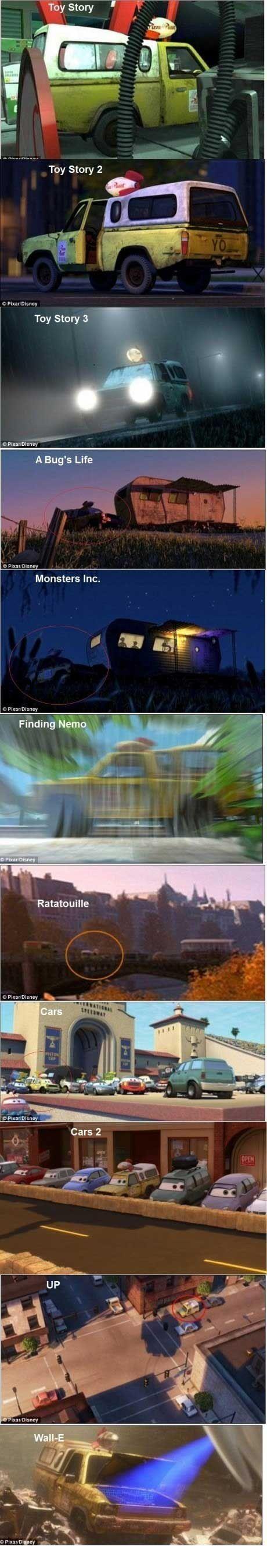 Cuando Pixar discretamente puso la misma camioneta vieja en cada una de sus películas: | Las 26 cosas más astutas que alguna vez han sucedido