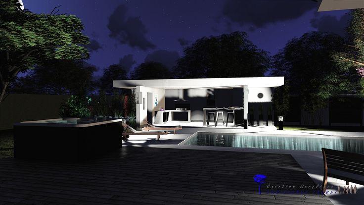 Eclairage extérieur pool house.